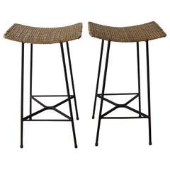 Pair of 1960s Vintage Black Metal and Cane Wicker stools