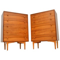 Pair of 1960s Vintage Walnut Chest of Drawers