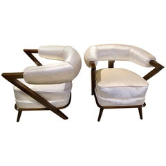 Pair of 1960s White Art Deco Tub Armchairs