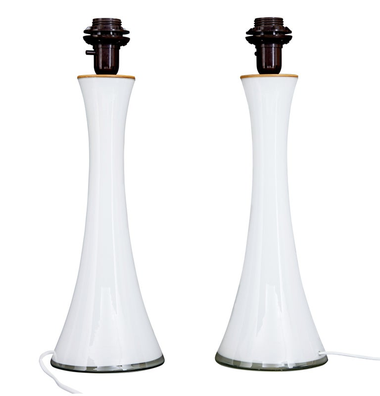 Swedish Pair of 1960s White Glass Table Lamps by Bergboms For Sale