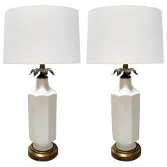 Pair of 1960's White-Glazed Octagonal Lamps with Bronze Foliate Fittings