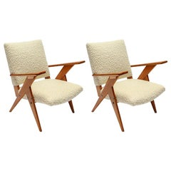 Pair of 1960s Zanine Brazilian Armchairs in Ivory Boucle