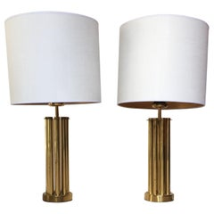 Pair of 1970 Italian Brass Table Lamps Gaetano Sciolari Style