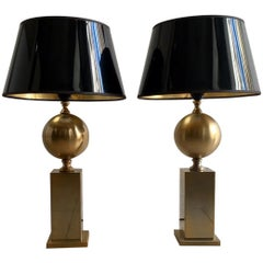 Pair of 1970s Nickel-Plated Table Lamps by Philippe Barbier