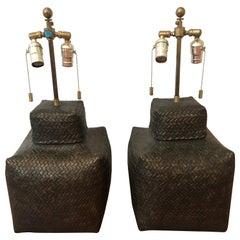 Pair of 1970 Sirmos Basket Weave Lamps