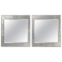 Pair of 1970s Oversized Very Chic La Barge Smoked Mirrors In Chrome Frames