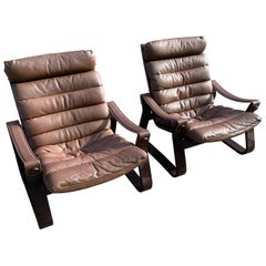 Pair of 1970s Adjustable Vintage Lounge Chairs