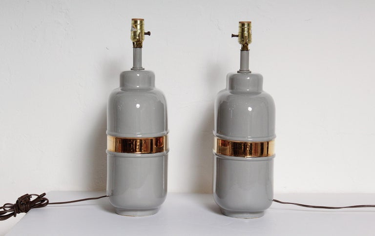 Glazed Pair of 1970s American Modernist Lamps in Grey Ceramic with 24-Karat Gold Glaze For Sale