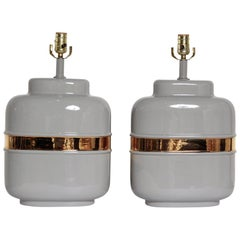Pair of 1970s American Modernist Lamps in Grey Ceramic with 24-Karat Gold Glaze