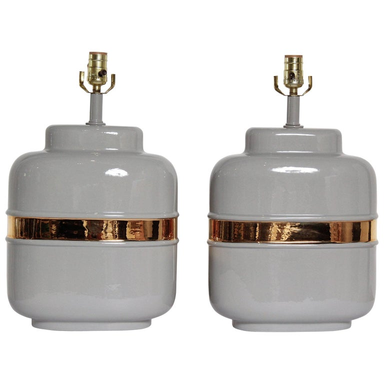 Pair of 1970s American Modernist Lamps in Grey Ceramic with 24-Karat Gold Glaze For Sale