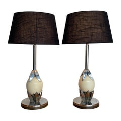 Pair of 1970s Anthony Redmile Style Chrome and Real Ostrich Egg Lamps