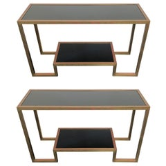 Pair of 1970's Art Deco Black Glass and Brass Consoles