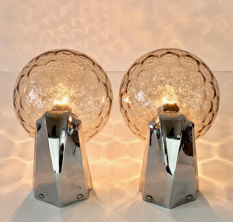 Pair of 1970s Art Deco Style Vintage Bubble Glass Wall Lights or Vanity Sconces For Sale 9