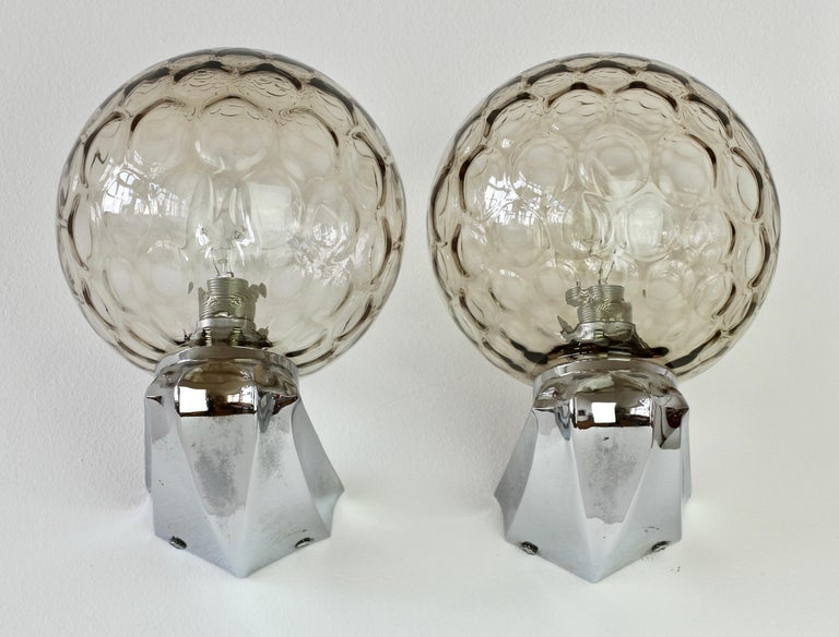Mid-Century Modern Pair of 1970s Art Deco Style Vintage Bubble Glass Wall Lights or Vanity Sconces For Sale