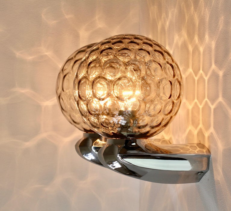 Metal Pair of 1970s Art Deco Style Vintage Bubble Glass Wall Lights or Vanity Sconces For Sale