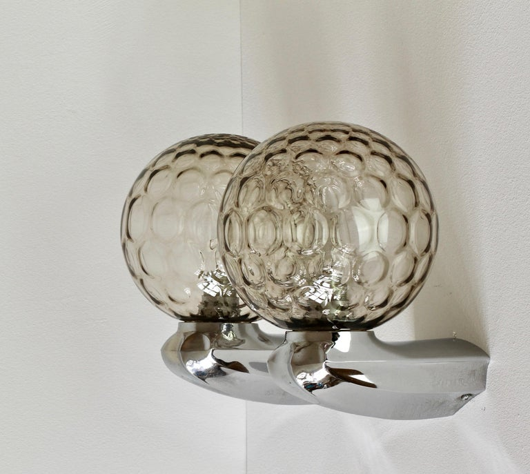 Pair of 1970s Art Deco Style Vintage Bubble Glass Wall Lights or Vanity Sconces For Sale 1