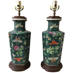 Pair of 1970s Asian Green Ceramic Ginger Jar Lamps