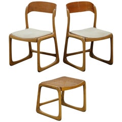 Pair of 1970s Bentwood Moller Styled Chairs and Ottoman by Baumann France Signed