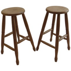 Pair of 1970s Bespoke Made Solid Ash Bar High Stools