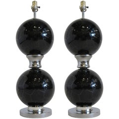 Pair of 1970s Black and Chrome Crackled Glass Lamps
