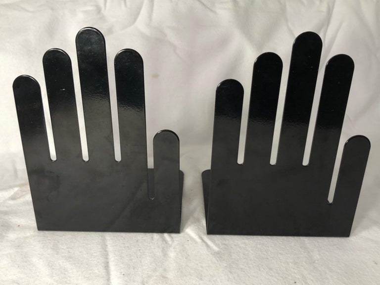 Pair of 1970s Black Metal Hand Bookends In Good Condition For Sale In Redding, CT