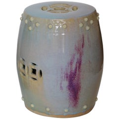 Pair of 1970s Blue-Purple Ceramic Stools