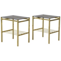 Pair of 1970s Brass and Smoked Glass Side Tables