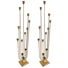 Pair of 1970s Brass Candleholders with 11 Cups