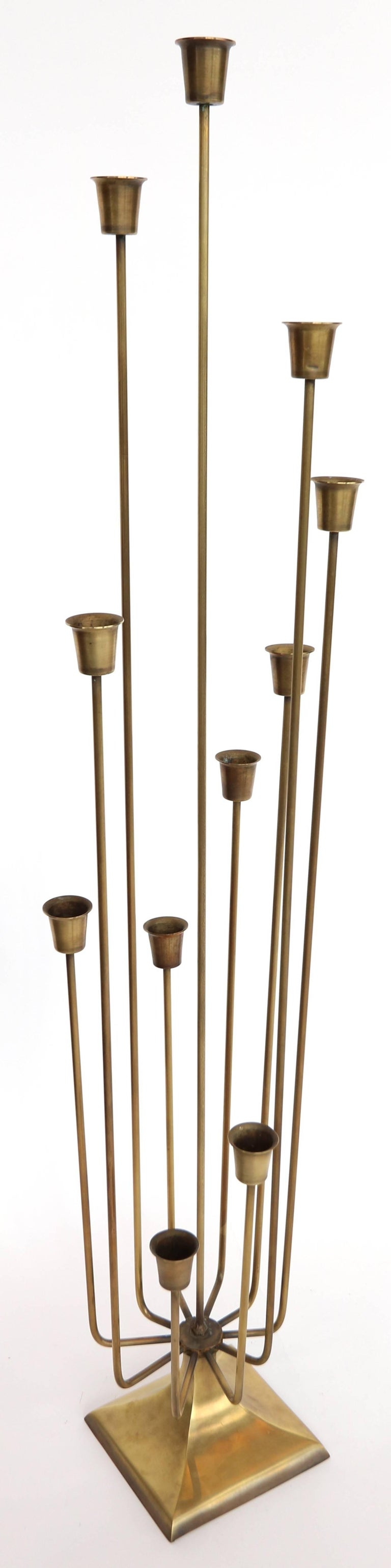 Pair of 1970s brass candleholders with 11 cups.