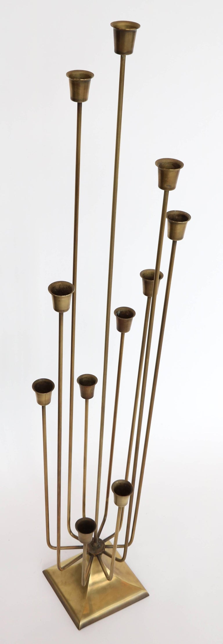 Mid-Century Modern Pair of 1970s Brass Candleholders with 11 Cups For Sale