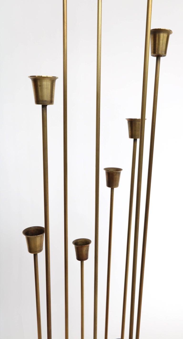 Pair of 1970s Brass Candleholders with 11 Cups In Good Condition For Sale In Los Angeles, CA