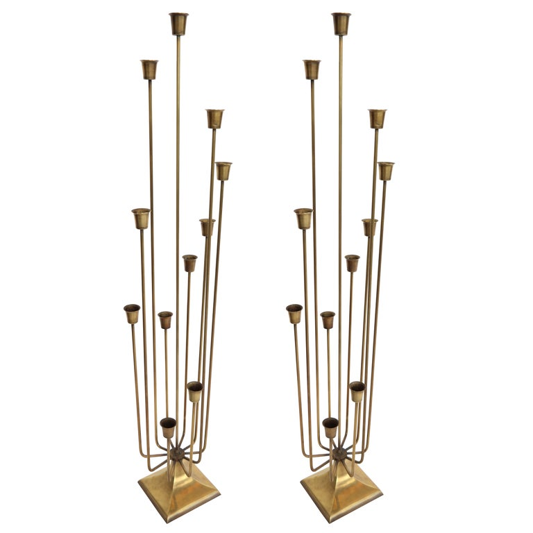 Pair of 1970s Brass Candleholders with 11 Cups For Sale