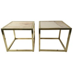 Pair of 1970s Brass Cube Tables with Marble Tops