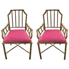 Pair of 1970s Brass Faux Bamboo Armchairs