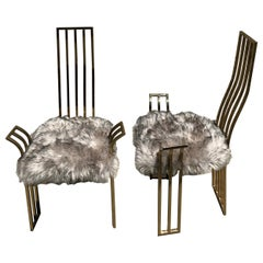 Pair of 1970s Brass Game Chairs Attributed to Pierre Cardin