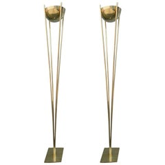 Pair of 1970s Brass Torchères Floor Lamps