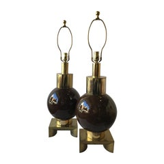 Pair of 1970s Brown Ceramic Ball Shaped Lamps on Brass Bases by Laurel