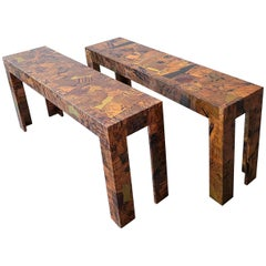 Pair of 1970s Brutalist Copper Patchwork Console Tables