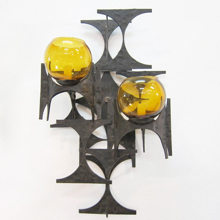 Spanish Pair of 1970s Brutalist Wall Sconces For Sale