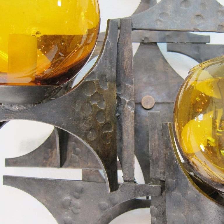 Hammered Pair of 1970s Brutalist Wall Sconces For Sale