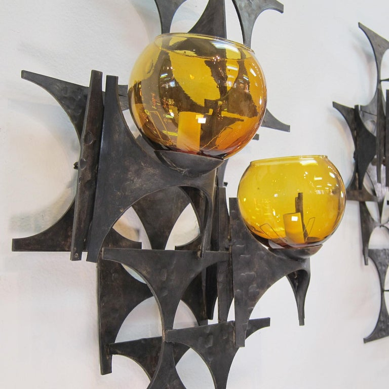 Pair of 1970s Brutalist Wall Sconces In Good Condition For Sale In Palm Springs, CA
