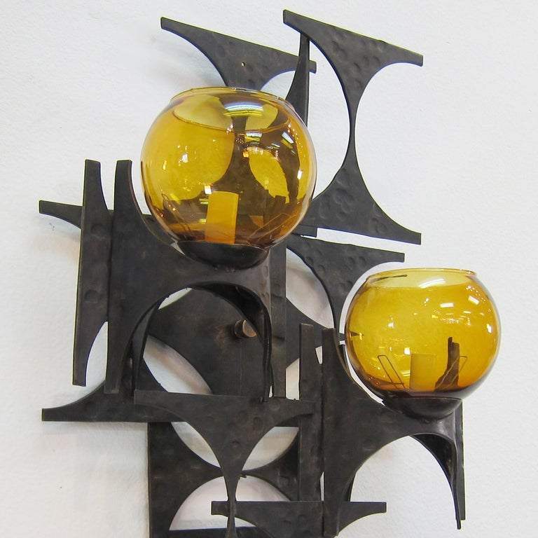 20th Century Pair of 1970s Brutalist Wall Sconces For Sale