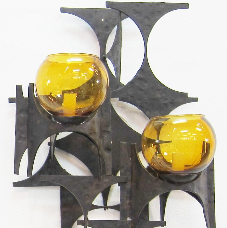 Metal Pair of 1970s Brutalist Wall Sconces For Sale