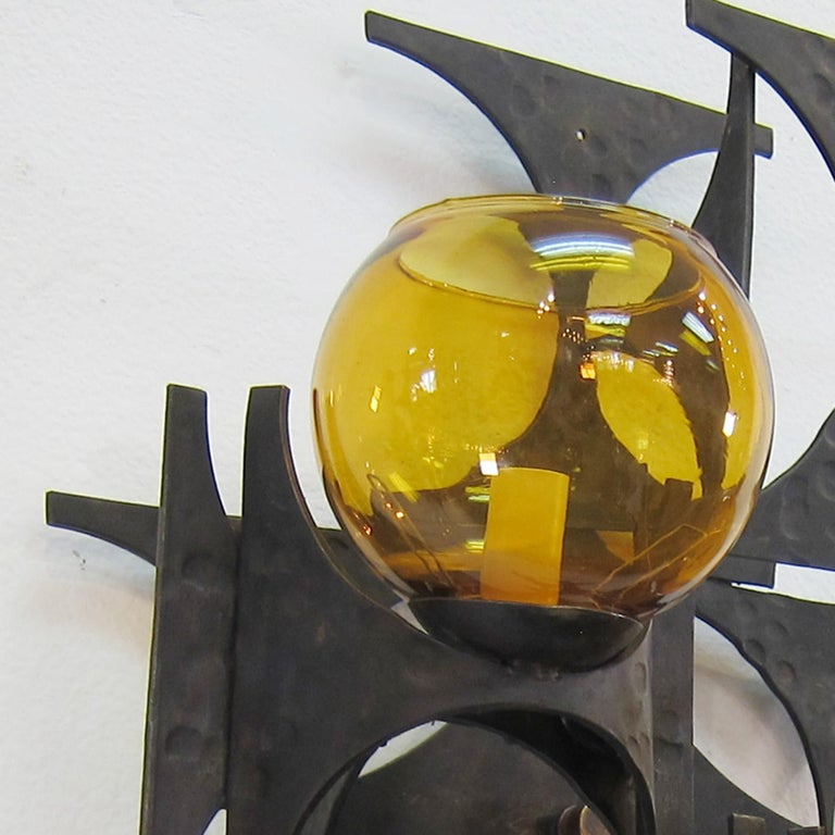 Pair of 1970s Brutalist Wall Sconces For Sale 1