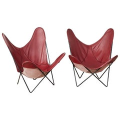 Pair of 1970s Burgundy Leather 'Butterfly' Chairs