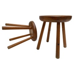 Pair of 1970s Carved Solid Pinewood Stools in the Style off Charlotte Perriand