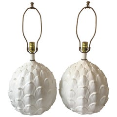 Pair of 1970s Ceramic Artichoke Lamps