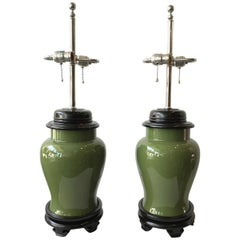 Pair of 1970s Ceramic Olive Green Ginger Jar Table Lamps