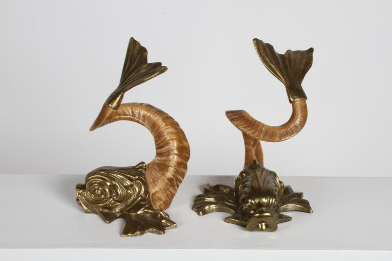 Hollywood Regency Pair of 1970s Chapman Brass and Faux Ram Horn Koi Fish Sculptures or Bookends For Sale