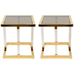 Pair of 1970s Charles Hollis Jones Brass and Lucite Side Table
